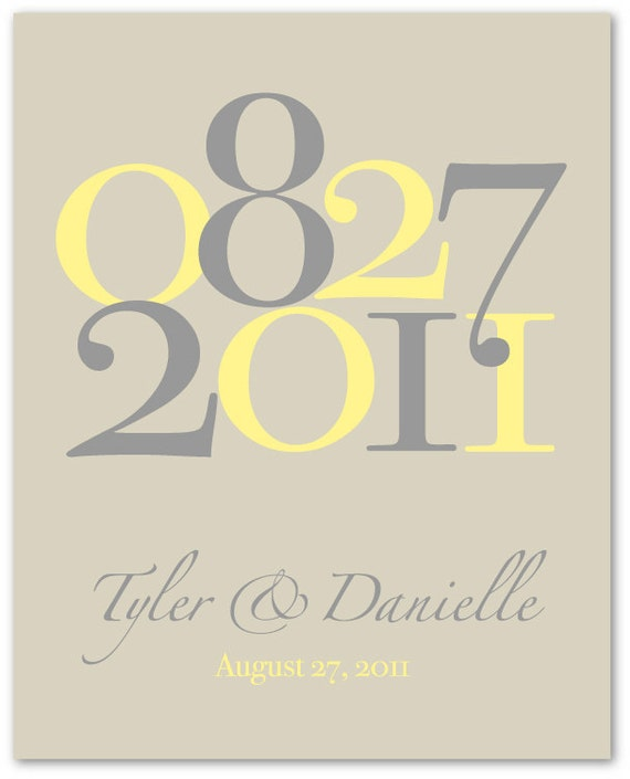 "Important Dates Wedding Gift Dates to Remember Custom Wedding Colors Anniversary or Wedding Date Print - 8""x10"" (Yellow/Gray/Stone)"