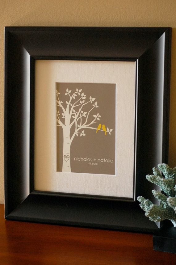"""Personalized Custom Love Birds Family Tree - Gift for Wife - Anniversary Gift - 5""""x7"""" (Yellow/Gray)"""