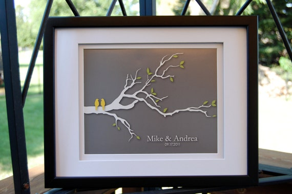 "Modern Family Tree Gift - Personalized Custom Wedding Love Birds Tree Branch - Family Tree - 8""x10"" (yellow/gray)"