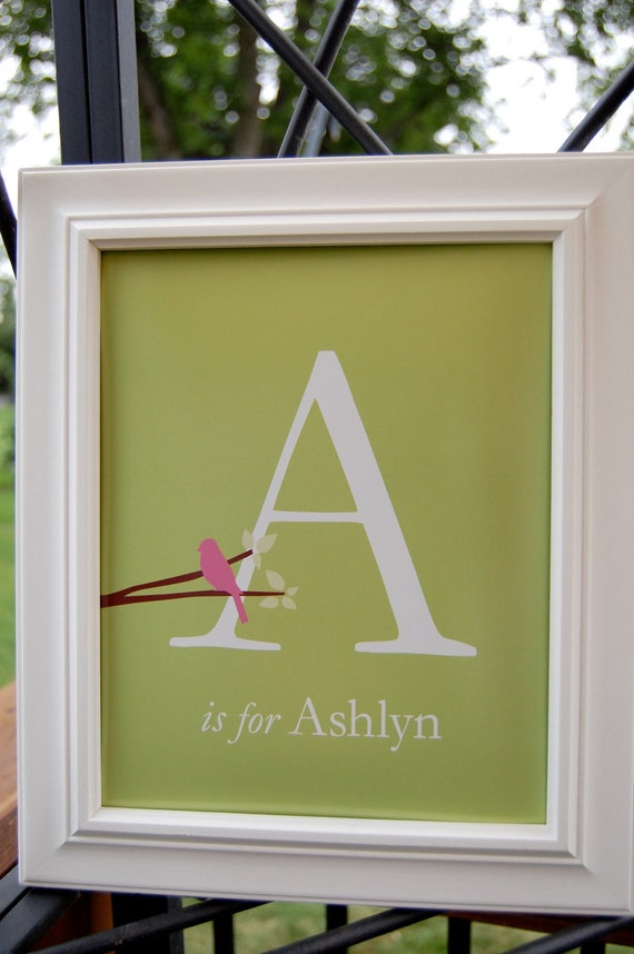"Art for Nursery Initial Monogram Print Personalized Bird Initial Monogram Baby Name Print Baby Shower Gift- 11""x14"" You Choose Colors"