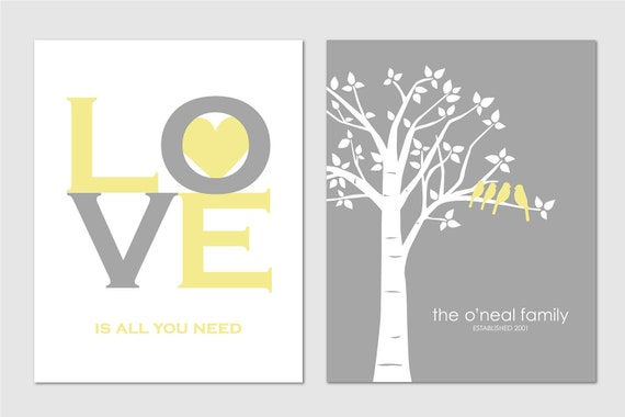 Personalized Custom Love Bird Wedding Family Tree - Birds on Branch - Love is All You Need - Set of 2 prints- 8x10s