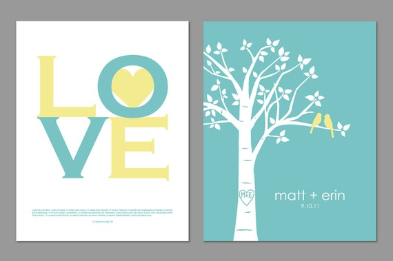 "Love 1 Corinthians 13 Print - Gift for her - Gift for Him - Family Tree Custom Wedding/Anniversary Print - Scripture -  8""x10"" Prints"