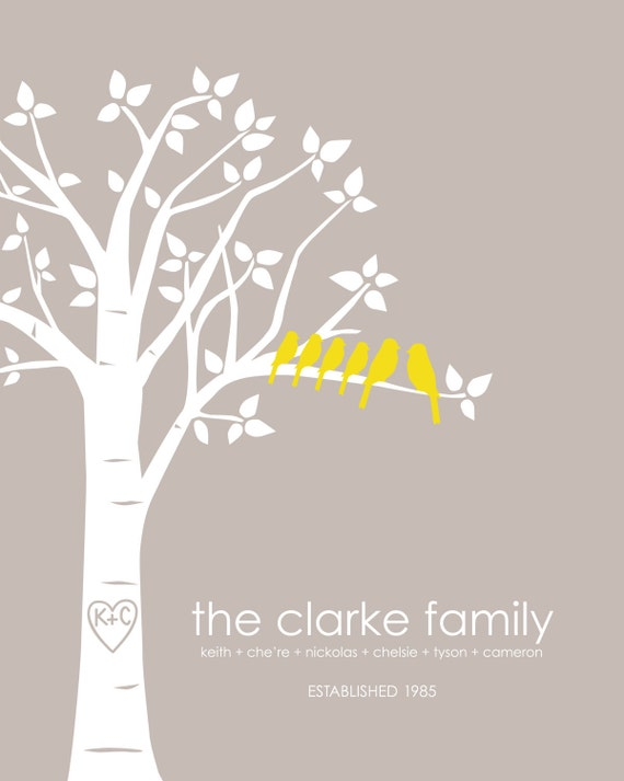"Personalized Custom Love Birds Wedding Family Tree - Housewarming Gift - Gift for Mom - 8""x10"" (Light Taupe/Mustard))"