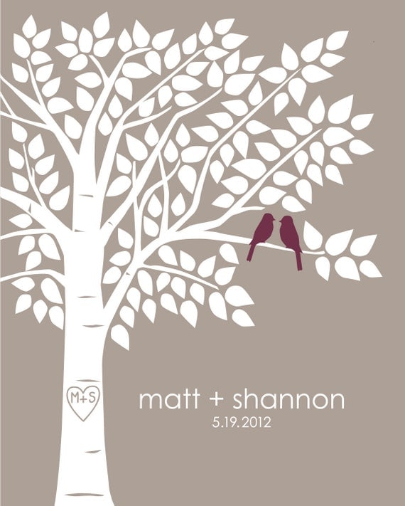 Guest Book Tree Personalized Wedding Print - 16x20 - 130 Signature Keepsake Guestbook Poster