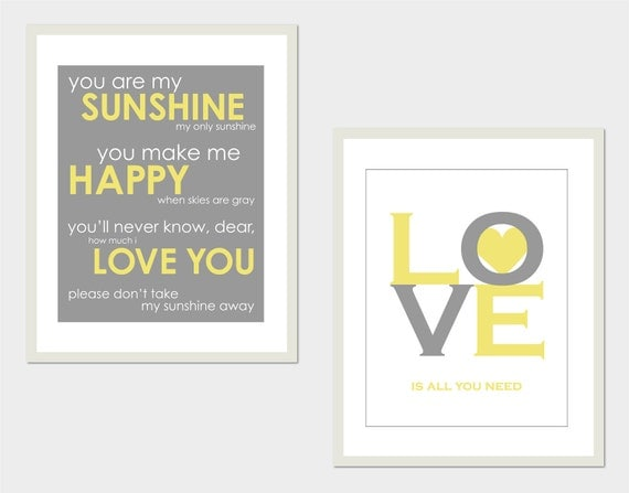 "You are My Sunshine and Love is All You Need - Set of two Prints - Perfect for modern nursery or playroom - 8""x10"""
