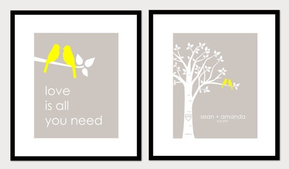 Personalized Custom Love Bird Wedding Family Tree - Birds on Branch - Love is All You Need - Set of 2 prints-11x14s
