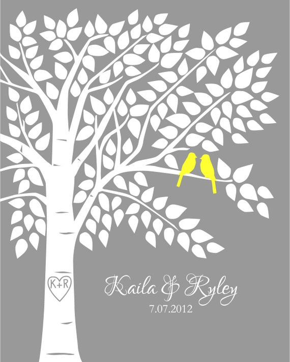 Guest Book Tree Personalized Wedding Print - 16x20 - 150 Signature Keepsake Guestbook Poster