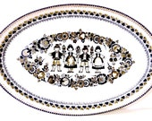 Austrian Folk Art Black and White Gold Trim Enamel Serving Dish by Steinbock-Email