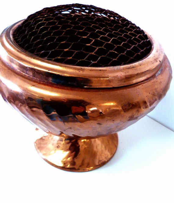Copper Flower Pot with Frog Lid Organizer