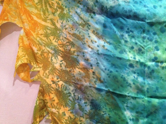 Freya Tattered silk veil in Green, Teal & Lime with a Tangarine Gold edge