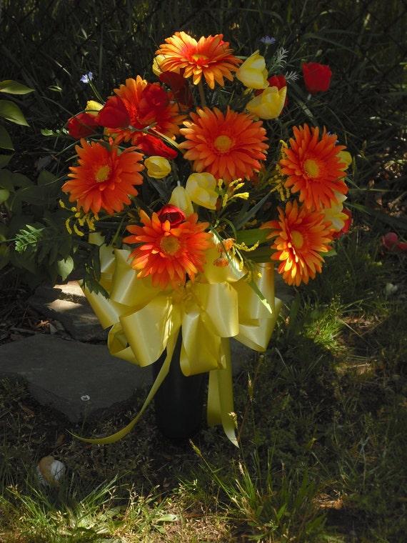 SALE~Ready to Ship~Bright Cemetery Flowers~Spring~Summer Flowers~Grave Headstone Decor..Memorial Arrangement..Bright Orange Gerbera Daisies