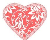 Decorative Valentine heart string pdf pattern