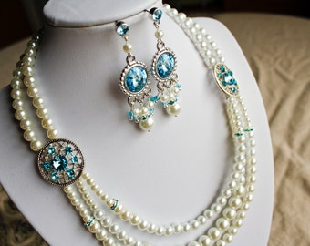 Custom Bridal Necklace - Special Occassion, Made to Order, Pearl, Crystal & Vintage