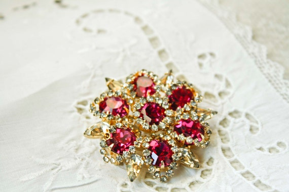 Vintage Hot Pink Rhinestone Flower Brooch with Round & Pear Cut Crystals, Gold Setting