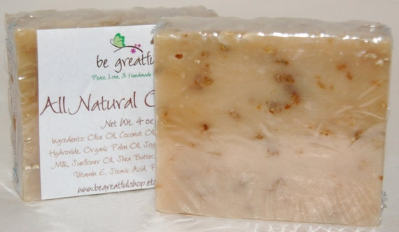 Unscented Oatmeal and Goat Milk All Natural Cold Process Soap Bar