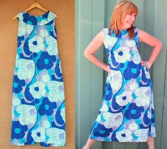 SALE 1960s Blue Floral Maxi Dress MEDIUM LARGE