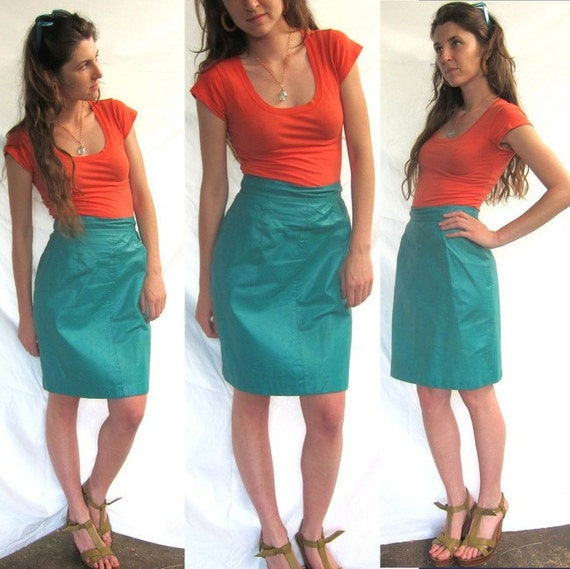 Teal Leather Skirt - Vintage 1980s - size small