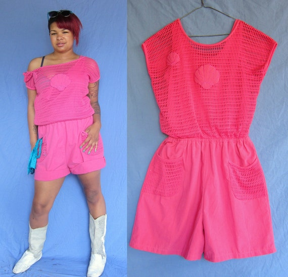 1980s Jumper Romper in Pink with Sea Shell motif and Pockets size Medium
