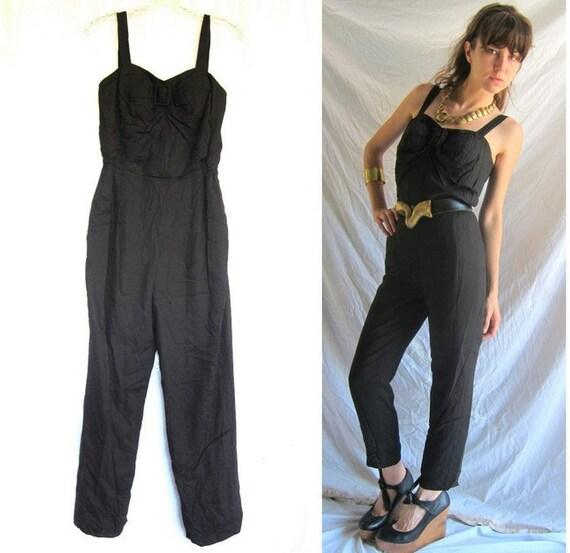 Vintage Black Jumpsuit - Early 90s Jumper size S