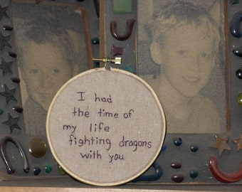Dragon Fighter Hand Embroidered Hoop Art