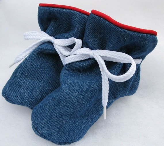 Stay-On Baby Shoes Denim with Red Piping