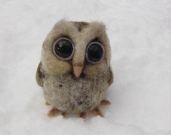 Baby owl needle felted bird