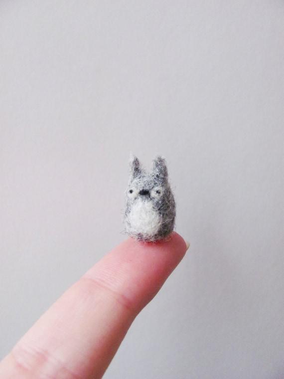 Tiny needle felted totoro