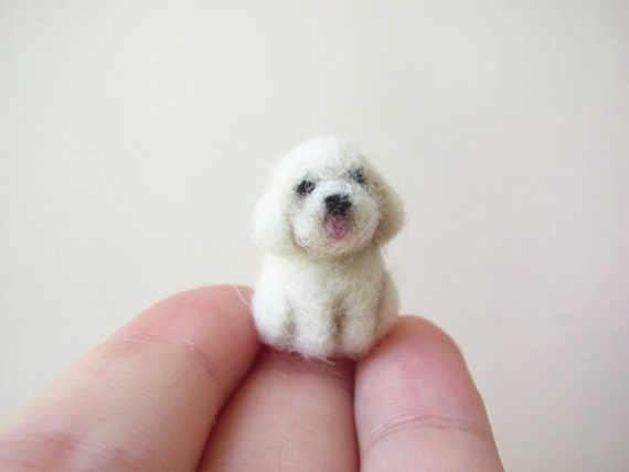 Tiny needle felted bichon