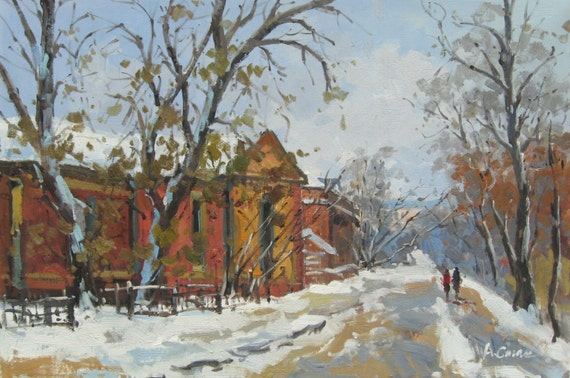Thaw - Russian original oil painting by Andrey Stas