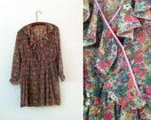 Vintage 70s Dreamy Gauzy Floral Faux Wrap Dress S/M
