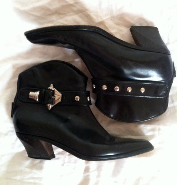 Vintage 80s Rad Black Ankle Dingo Motorcycle Booties 5.5 / 6