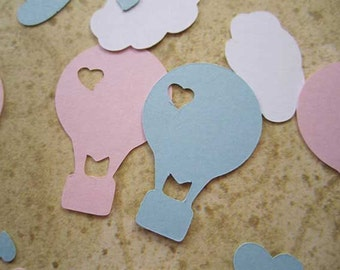 Hot Air Balloon Confetti Pink & Blue Baby Shower Die Cuts Up Up and Away, Love is in the Air Wedding Shower Decor Color Options, 100 pieces