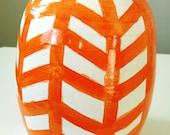 Orange Chevron Vase