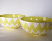 Canary Yellow and White Chevron Bowls