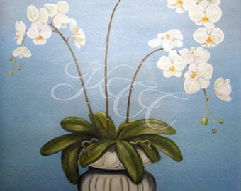 """Original Oil Painting - """"Orchids In Urn"""""""