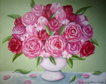 """Original Oil Painting - """"Pink and Green"""""""