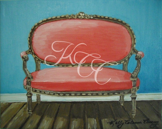 """Original Oil Painting - """"Coral Settee""""- Framed"""