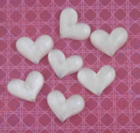 White Glitter Heart Cabochons