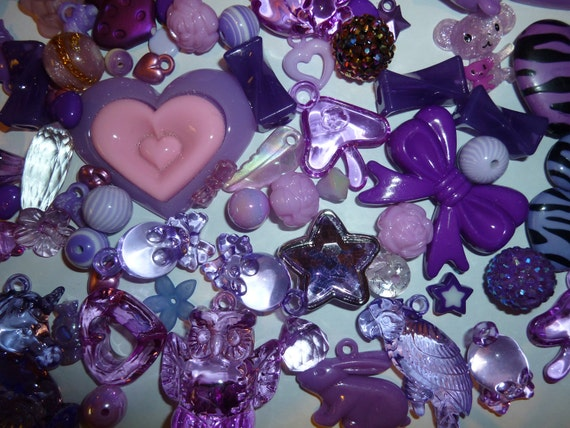 Purple Mega Mix Value Pack of Acrylic Beads, Charms and Cabochons
