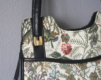 "Tapestry Handbag, Vintage Black Vinyl & Floral 1970's 1980's Purse,  ""Ambassador Design"" Retro Bag"