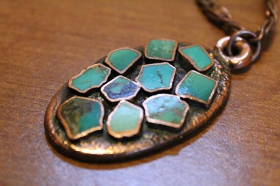 Vintage 60's Handmade Turquoise Copper Pendant