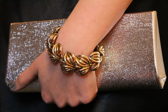 "Vintage 50's Golden ""Leaves"" Bracelet - on hold for customer"