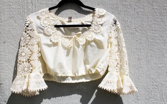 Vintage 1970's Cream Lace Crop Top