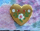 "Vintage 1950s60s Mirrored Heart Shaped Compact Enamel Flowers  ""Treasury Item"""