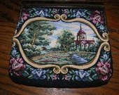 Vintage 1980s Scenic Tapestry Purse