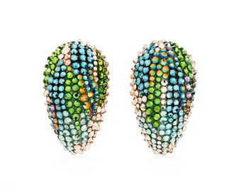 Jewels Of The Rainforest Earrings Layered With Swarovski Crystals
