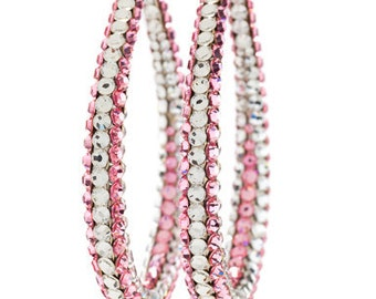 Light Rose & Silver Toned Oval Hoop Earrings Layered With Swarovski Crystals