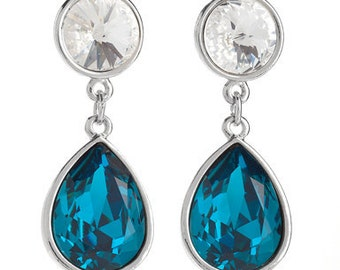 Indicolite Toned Tear-Drop Earrings With Swarovski Crystals