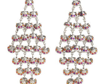 Iridescent Volcana Red Toned Symmetrical Dangle Earrings Layered With Swarovski Crystals