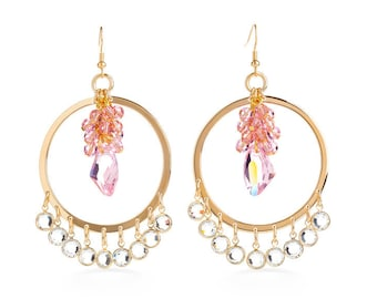Single Iridescent Jewel Enclosed in Rose Beads & Encased In Golden Dangling Hoop Earrings Outfitted With Swarovski Crystals